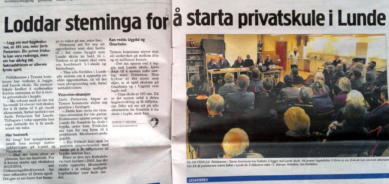 Faksimile fra Bladet «Tysnes» torsdag 15. mars 2012